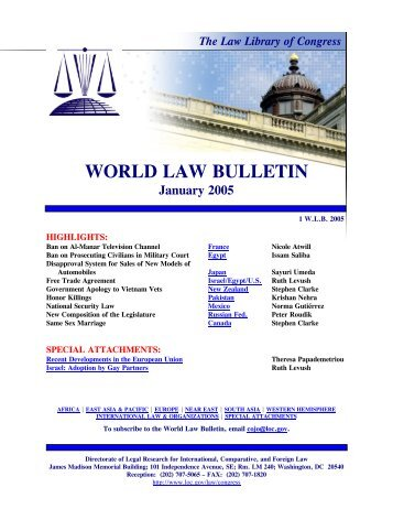 World Law Bulletin, January 2005 - Federation of American Scientists