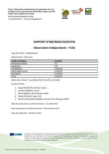 RAPPORT N° Observation RAPPORT N°006/REM ... - Forests Monitor