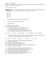 Questions - Avon Chemistry