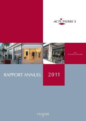 Rapport Annuel 2011 Actipierre 3 - Ciloger