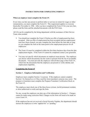 INSTRUCTIONS FOR COMPLETING FORM I-9