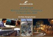 Ord Minnett Mining Services Conference 23 November ... - Ausenco