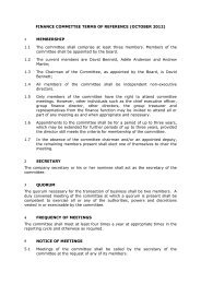 Terms of reference for the Finance Committee
