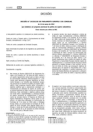Decisão n.º 243/2012/UE - TV Digital em Portugal
