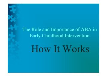 The Role and Importance of ABA in Early Childhood Intervention