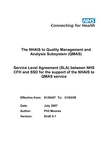 Service Level Agreement Sla Nhs Connecting For Health