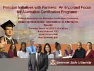 Principal Initiatives with Partners: An Important Focus for Alternative ...
