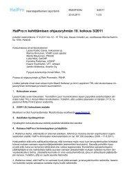 HaiPro ohjausryhmän kokousmuistio 17.8.2011 - Awanic Oy