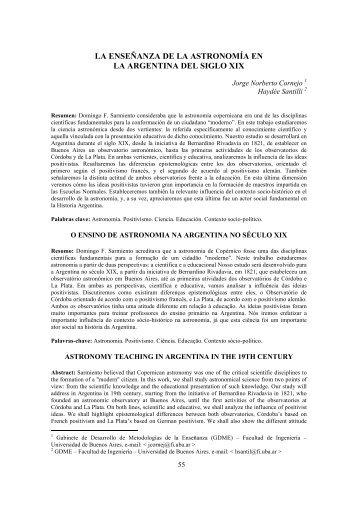 la enseñanza de la astronomía en la argentina del siglo xix