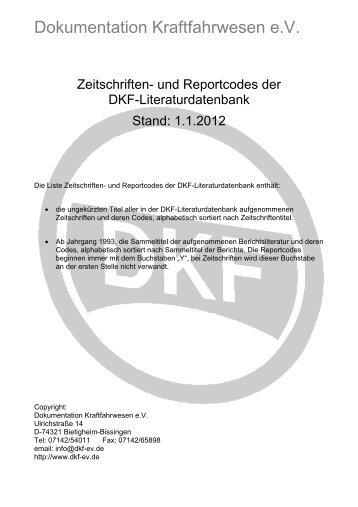 Dokumentation Kraftfahrwesen e.V. - DKF