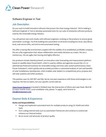 Software Engineer Job Description Desired Skills  Experience