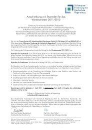 Ausschreibung von Stipendien für das Wintersemester 2011/2012