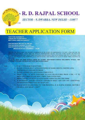 Teaching Staff application form - RD Rajpal School, Dwarka