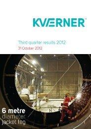 3rd quarter results 2012 Report - Kvaerner