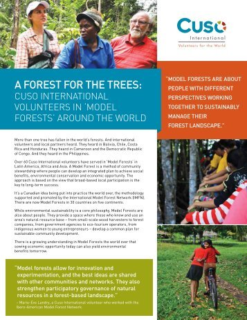'Model Forests' and volunteers - Cuso International