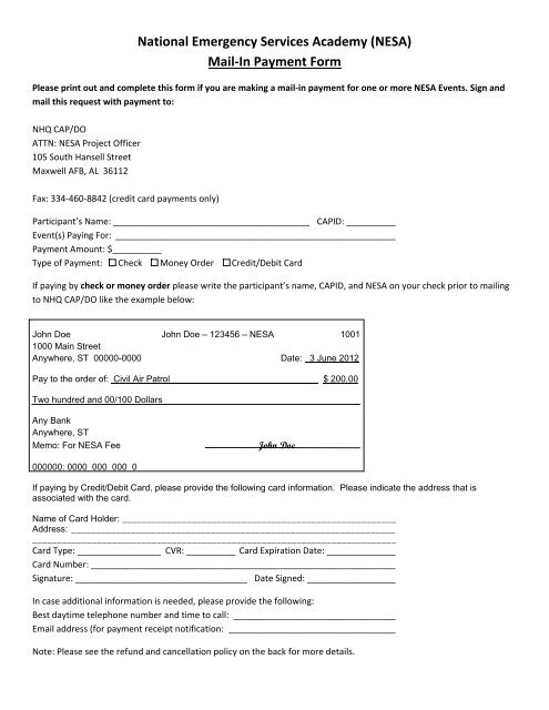Mail-In Payment Form - NESA - Civil Air Patrol