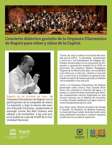 Concierto didáctico gratuito de la Orquesta Filarmónica de Bogotá ...