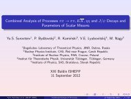 Combined Analysis of Processes ππ → ππ,KK,ηη and J/ψ ... - JINR