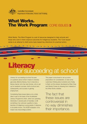Core Issues 3: Literacy - What Works