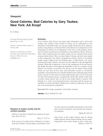 Good Calories, Bad Calories by Gary Taubes; New ... - Protein Power