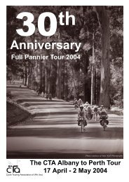 30th Tour Brochure - Cycle Touring Association of Western Australia