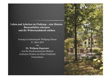 Leben und Arbeiten im Einklang - Röher Parkklinik GmbH