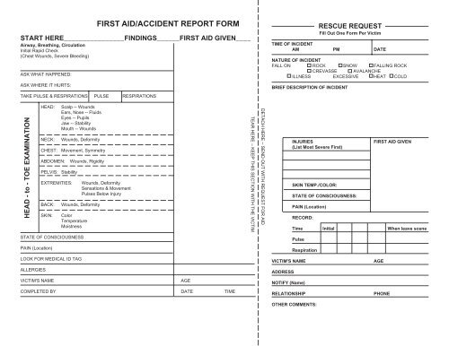 FIRST AID/ACCIDENT REPORT FORM - Everett Mountaineers