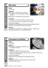 1 Nos sens 2 Processus d'audition PARCOURS DE GROUPE ...