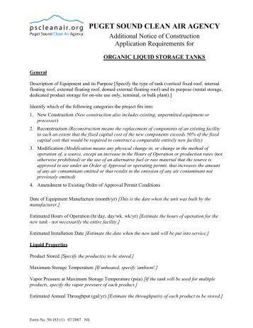 Organic Liquid Storage Tanks - Puget Sound Clean Air Agency