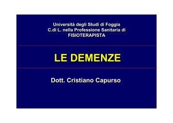 LE DEMENZE - Medicina e chirurgia - Università degli Studi di Foggia