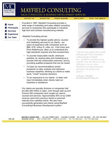 Print this Website - Mayfield Consulting