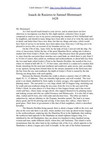 Isaac de Rasieres' letter - The Mayflower Web Pages