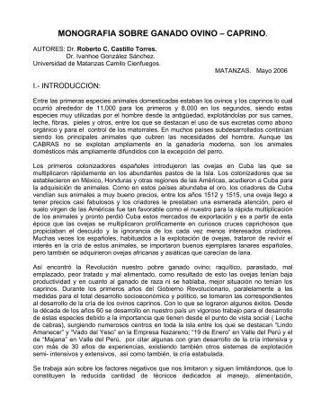 MONOGRAFIA SOBRE GANADO OVINO – CAPRINO.