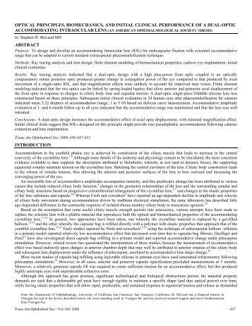 optical principles, biomechanics, and initial clinical performance