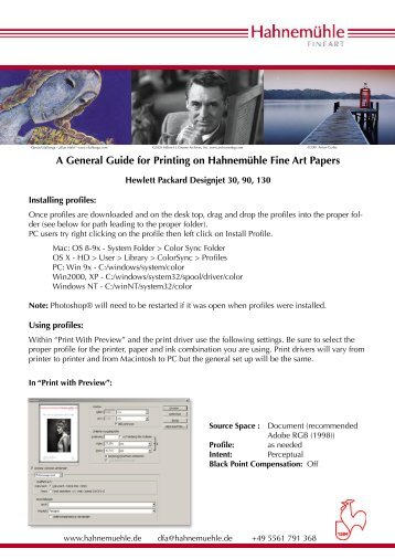 A General Guide for Printing on Hahnemühle Fine Art Papers