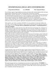fenomenologia delle arti contemporanee - Accademia di Belle Arti di ...