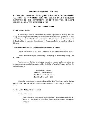 Instructions for Request for Letter Ruling A COMPLETE ... - FormSend