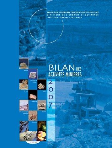 Bilan des Activités Minières – Année 2007 - Ministère de l'énergie et ...