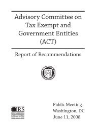 Advisory Committee on Tax Exempt and Government Entities (ACT ...