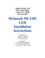 McIntosh MC1201 LED Installation instructions - Audio Classics