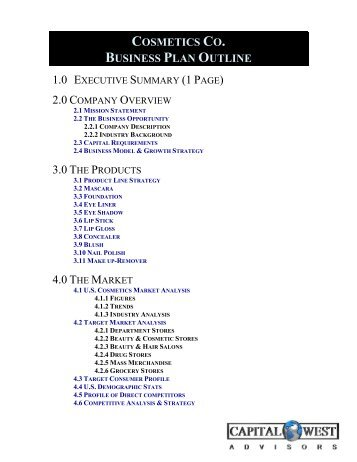 View a Sample Biotech Business Plan Outline - Capital West Advisors