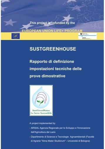 Rapporto di definizione delle impostazioni ... - Sustgreenhouse