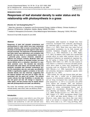Responses of leaf stomatal density to water status and its ...