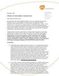 Important Prescribing Information: Dear Healthcare Professional Letter