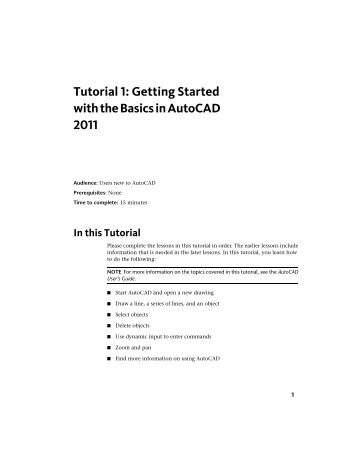 Tutorial 1: Getting Started with the Basics in AutoCAD 2011