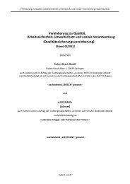 Vereinbarung zu Qualität, Arbeitssicherheit, Umweltschutz
