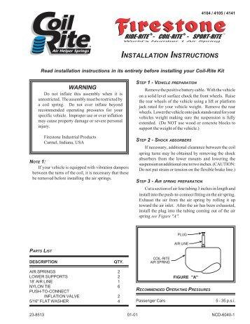 INSTALLATION INSTRUCTIONS - Firestone