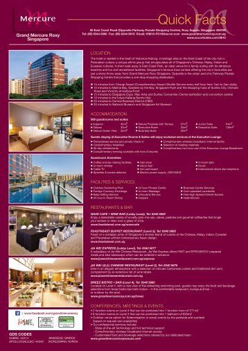Download Hotel Fact Sheet (494KB)