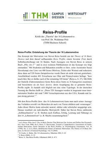 Das Reiss-Profile und die 16 Lebensmotive - Management Innovation