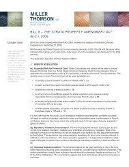 Bill 8 – The STraTa ProPerTy amendmenT acT ... - Miller Thomson